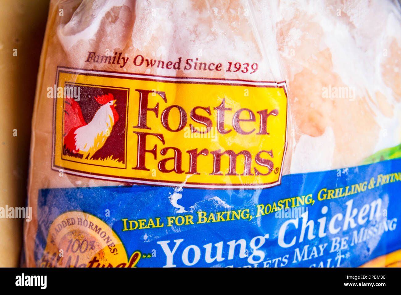 A Foster Farms Frozen Chicken.  The Foster Farms chicken processing plant in Livingston California was shut down. - Stock Image