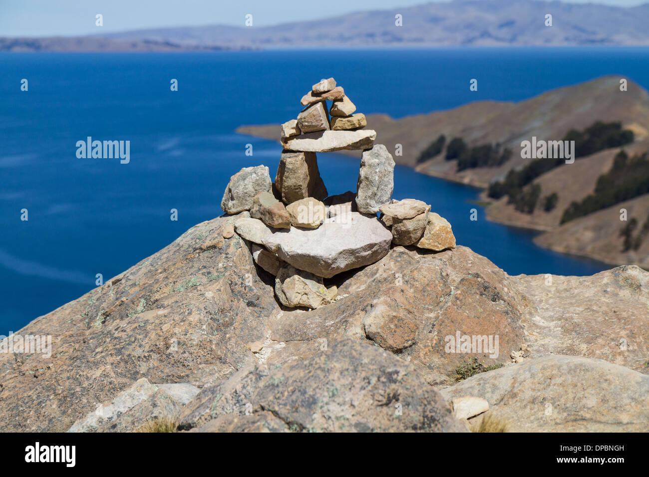 Stone Gate on 'Isla del Sol' Titicaca Lake, Bolivia - Stock Image