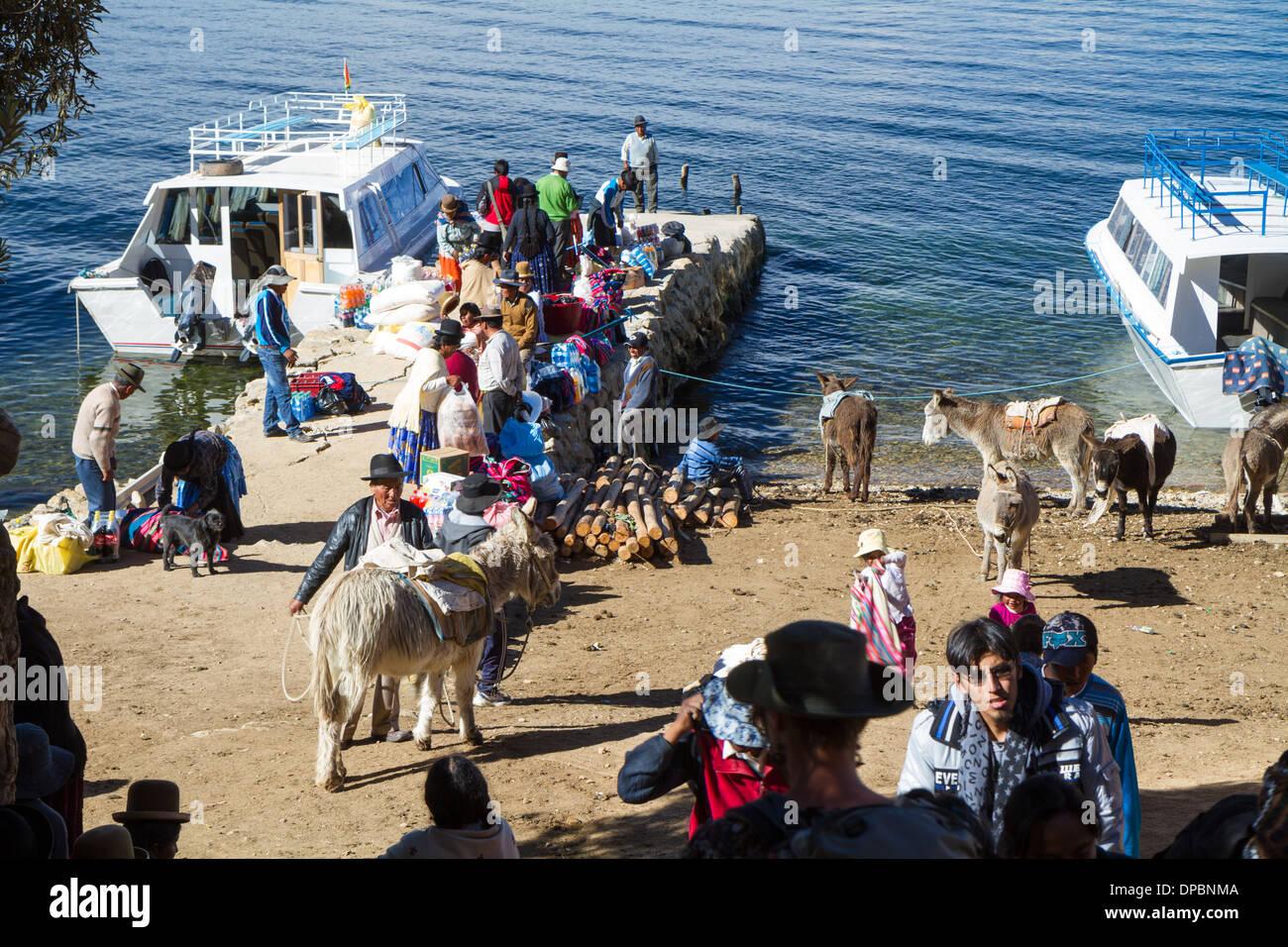 Ferry Port of Challapampa  on 'Isla del Sol', Titicaca lake, Bolivia - Stock Image