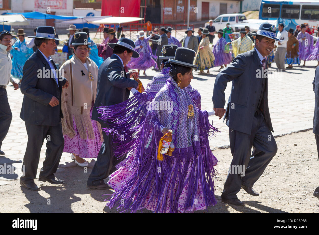 Traditional clothed dancers at a national holiday, San Pablo, Bolivia - Stock Image