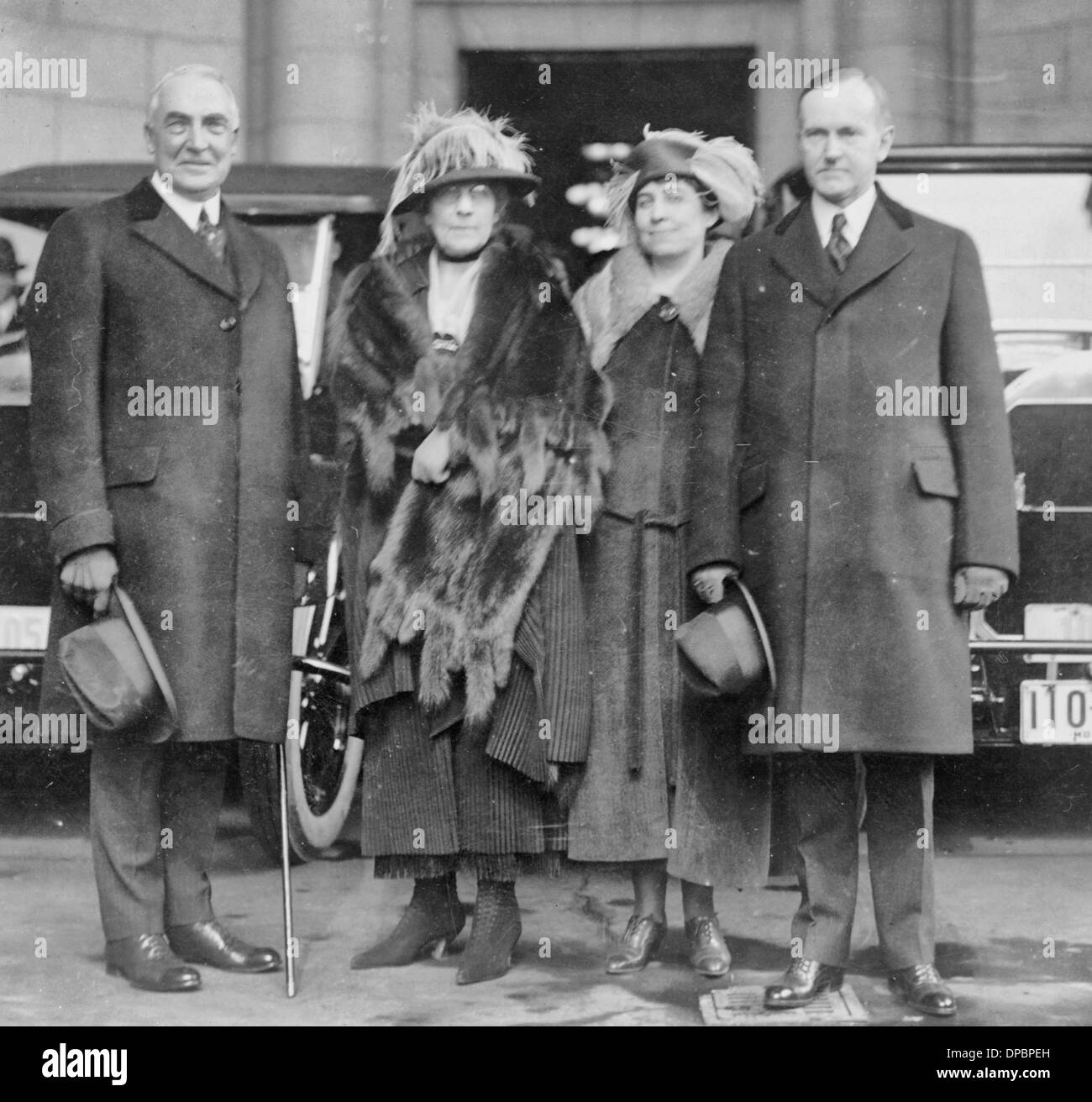 President Warren G Harding and his wife with then Vice President Calvin Coolidge and his wife, 1921 - Stock Image