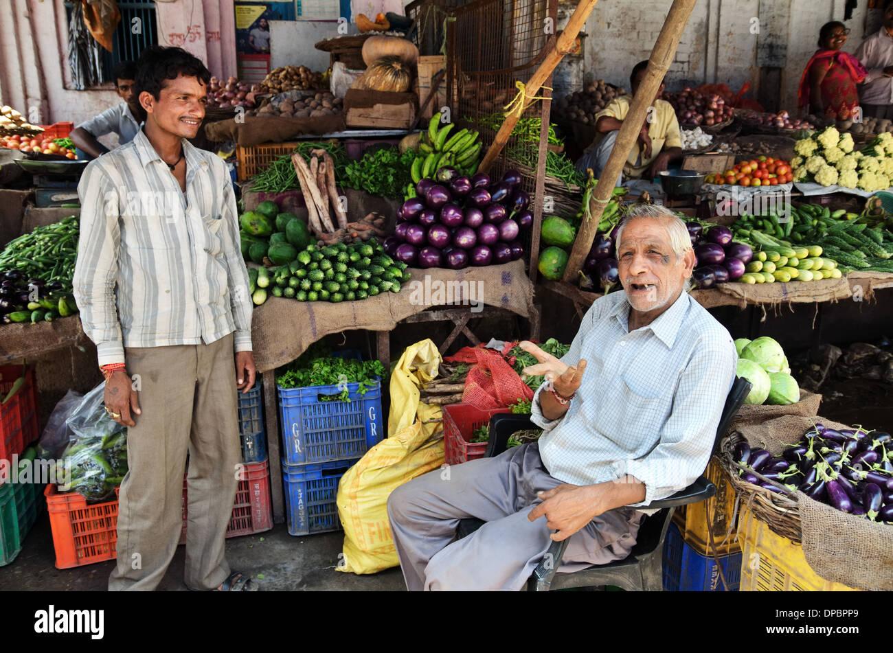 Greengrocery market, Haridwar, India - Stock Image