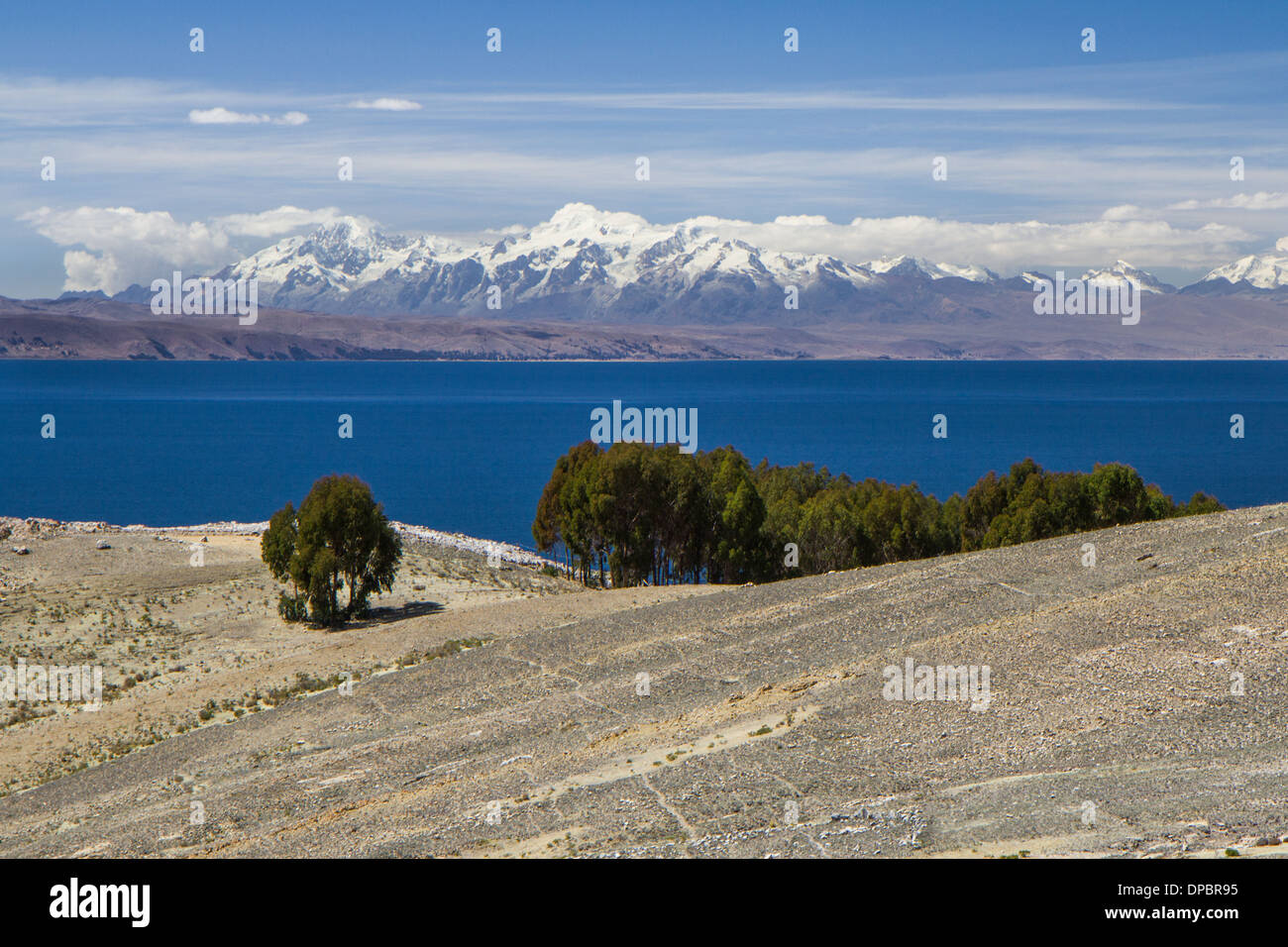 Titicaca lake, view towards the bolivian Andes. Cordillera Real. - Stock Image