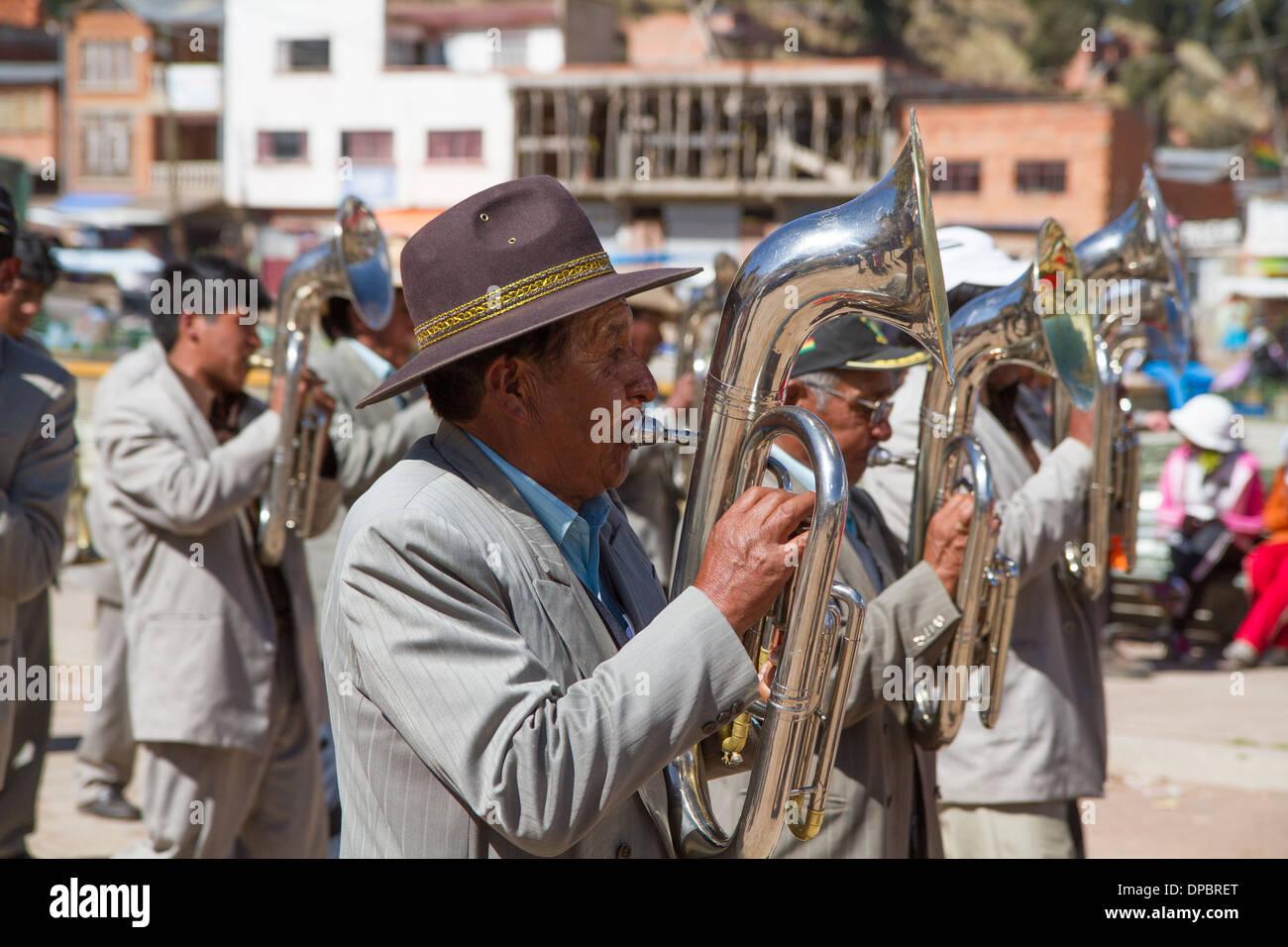 Musicians at a parade in San Pedro, Bolivia - Stock Image