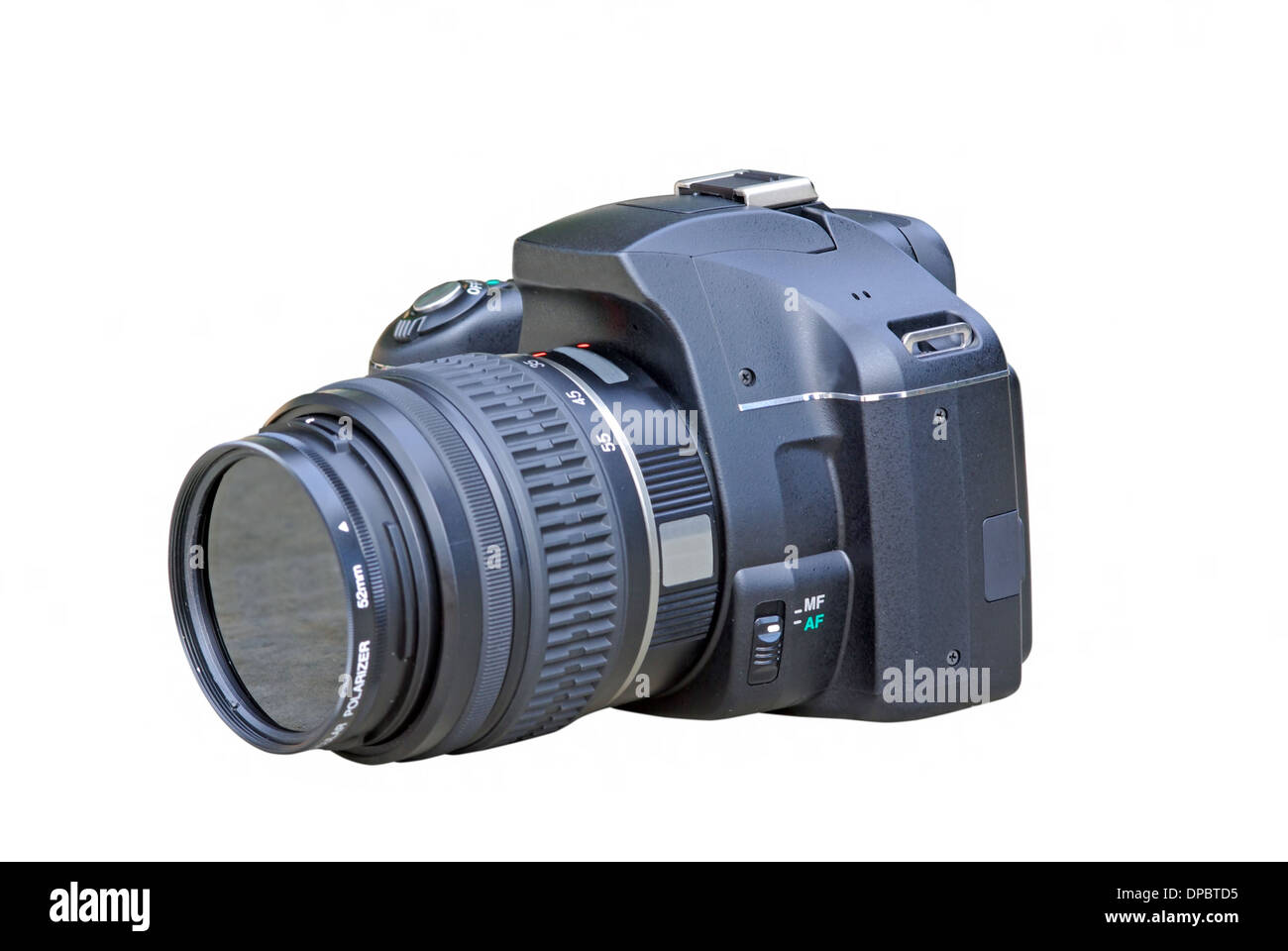 Black digital SLR camera on a white background - Stock Image