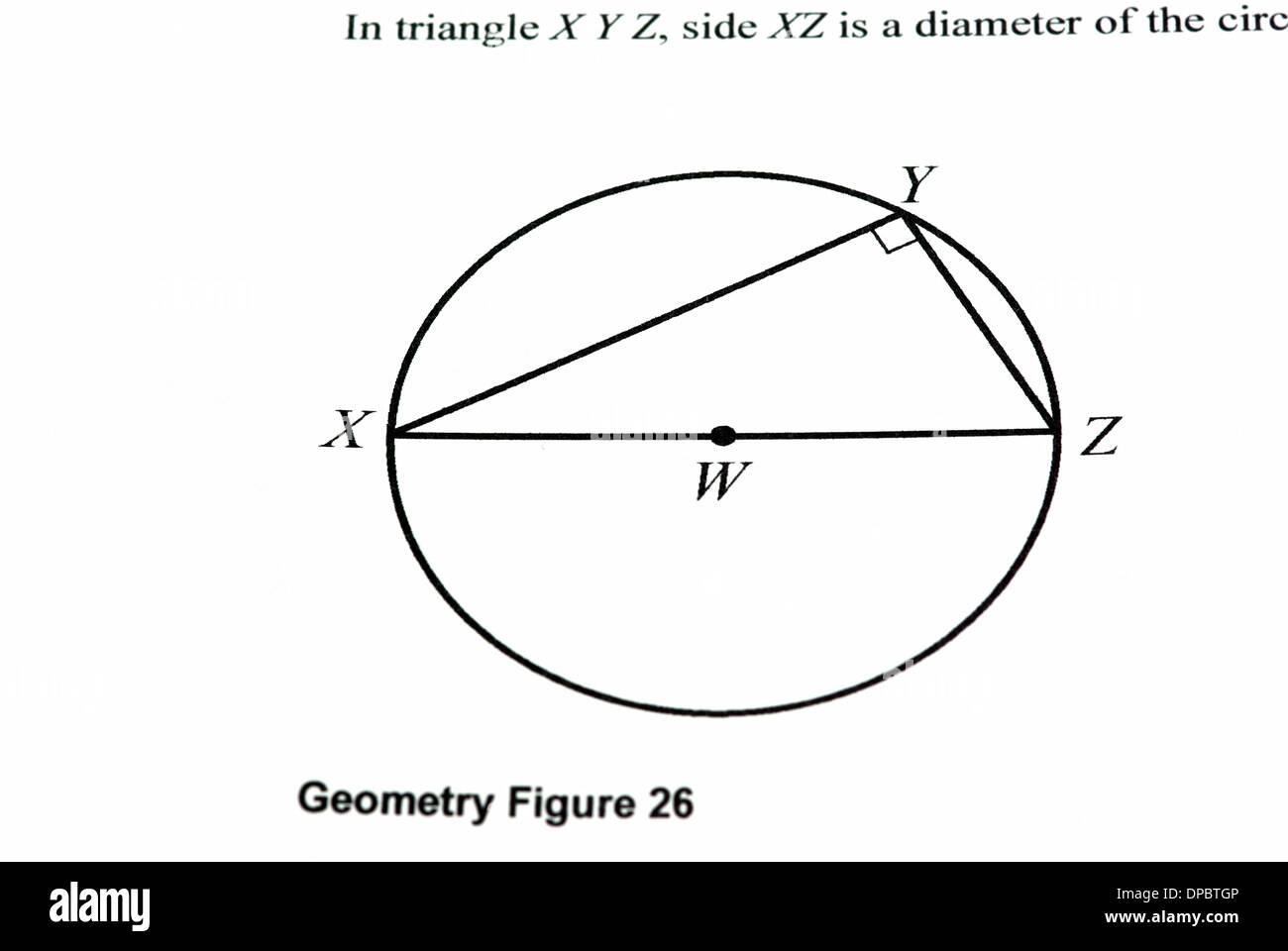 Mathematics graph on a white paper, closeup image - Stock Image