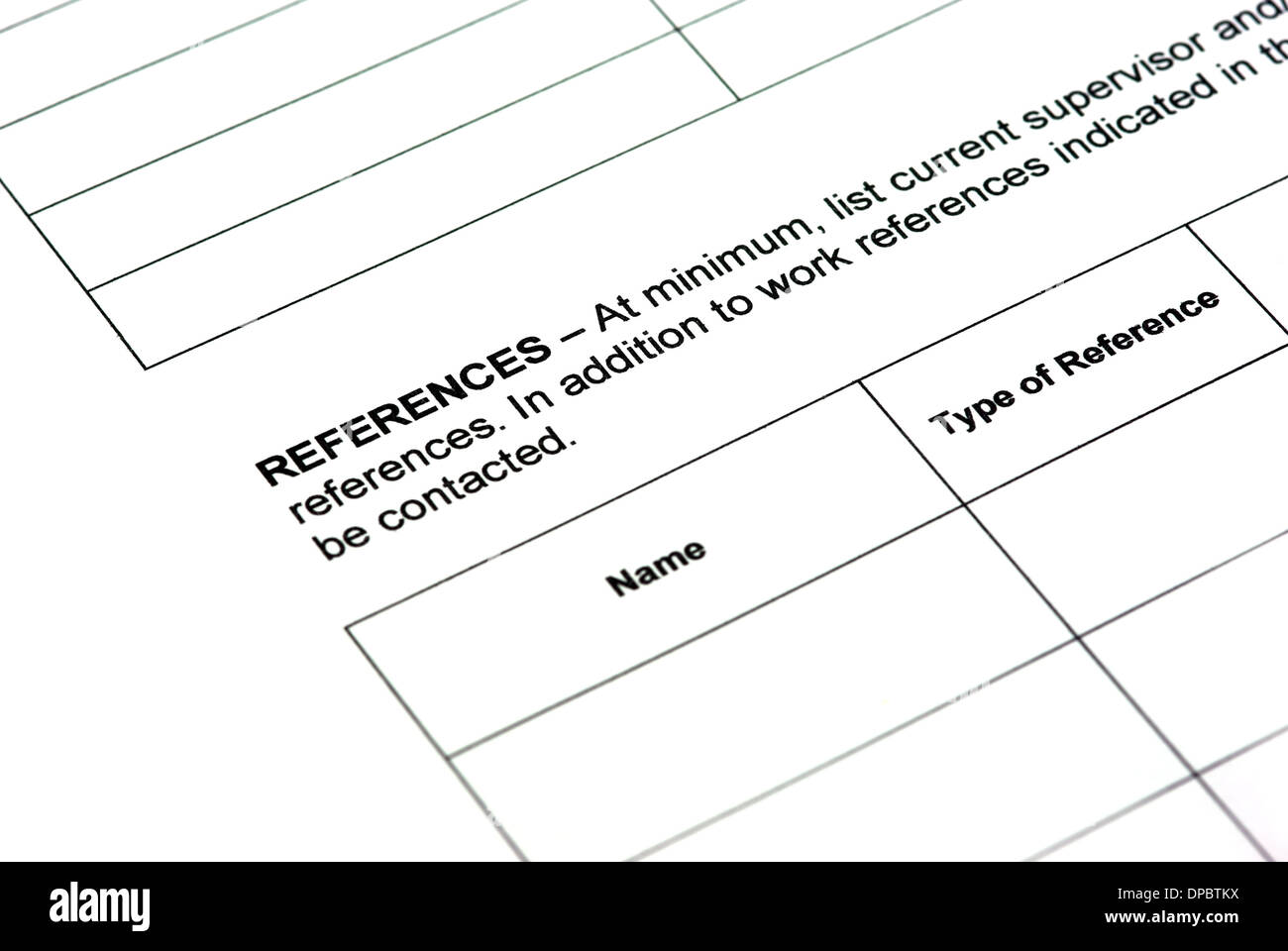 Completing application form: work references. - Stock Image