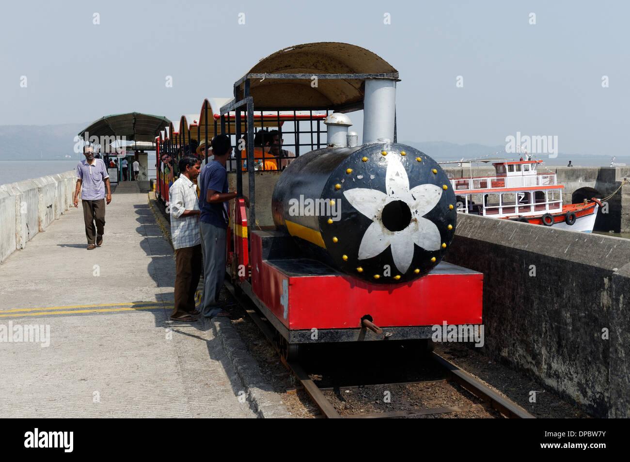 The small train on Elephanta Island near Mumbai (Bombay), India - Stock Image