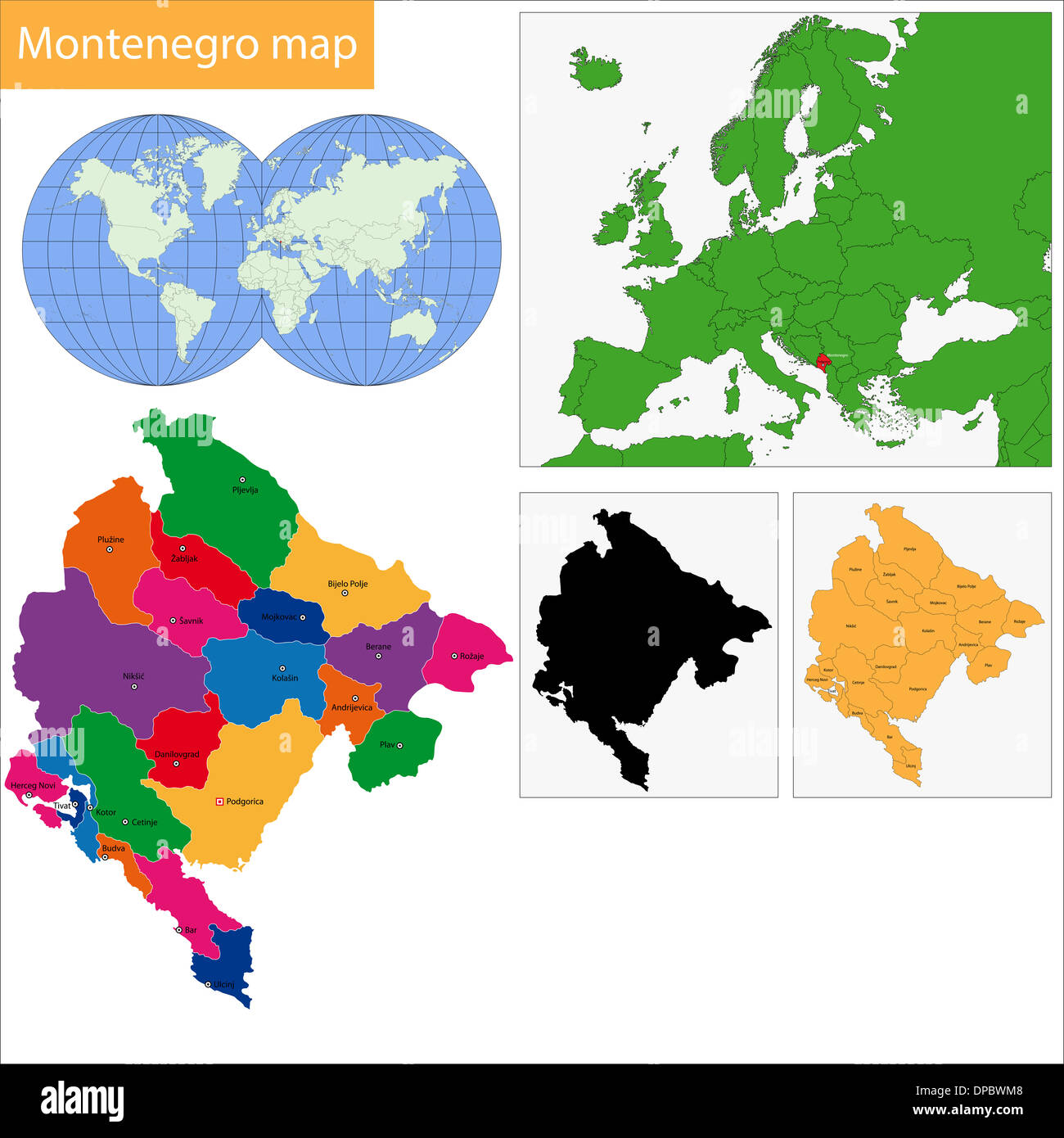 Administrative division of Montenegro - Stock Image