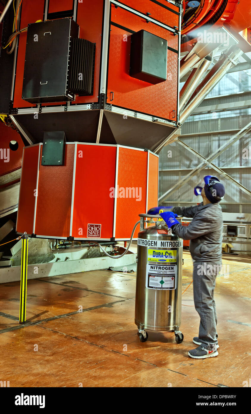 Technician inserting liquid nitrogen, LBT Mt. Graham, AZ - Stock Image