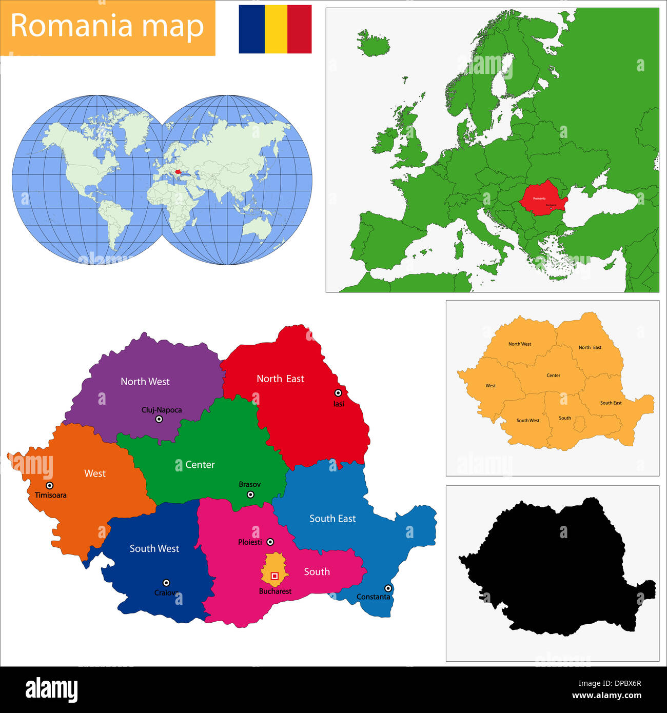 Administrative division of the Romania - Stock Image