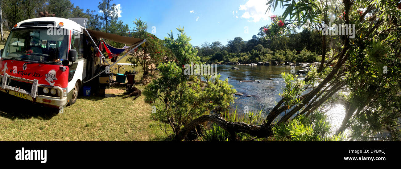 A Campervan at Rocky River nearby Tabulam in rural NSW Australia - Stock Image