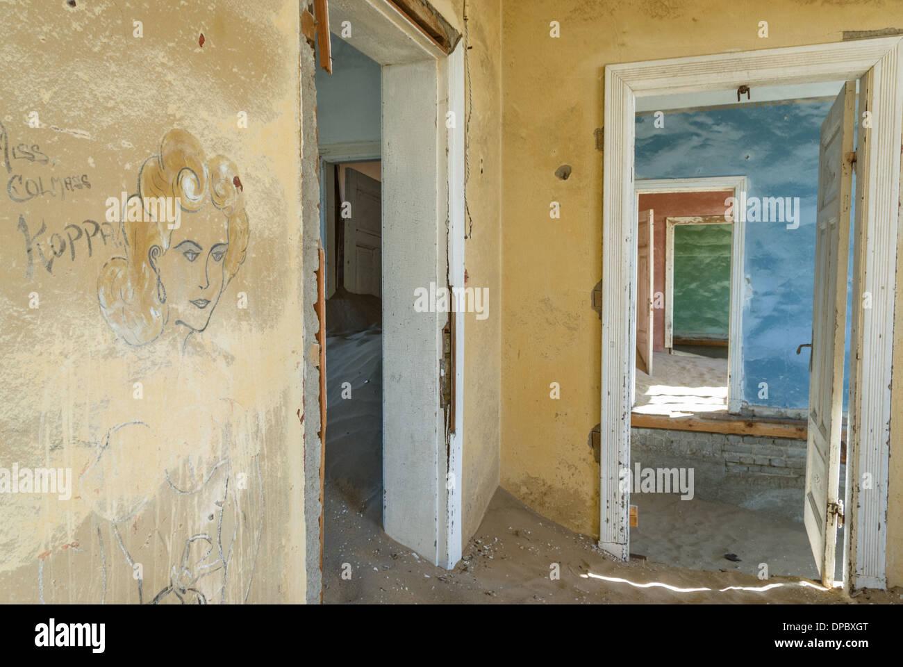 Abandoned house of the old mining town of Kolmanskoppe, Namibia, Africa - Stock Image