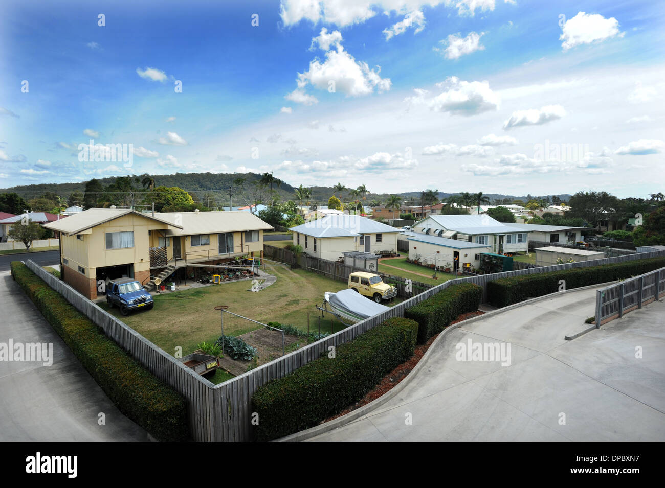 North Coast NSW Town Maclean Australia suburbs houses land life living architecture towns - Stock Image