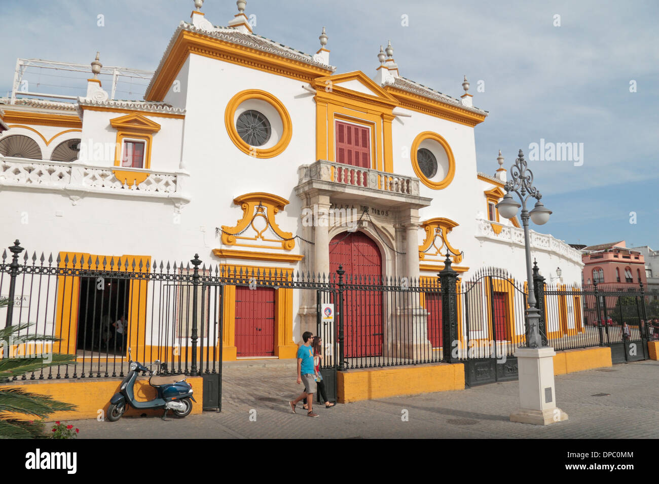 External view of Plaza de Toros de la Real Maestranza de Caballería de Sevilla (bull ring), in Seville, Andalusia, Spain. - Stock Image