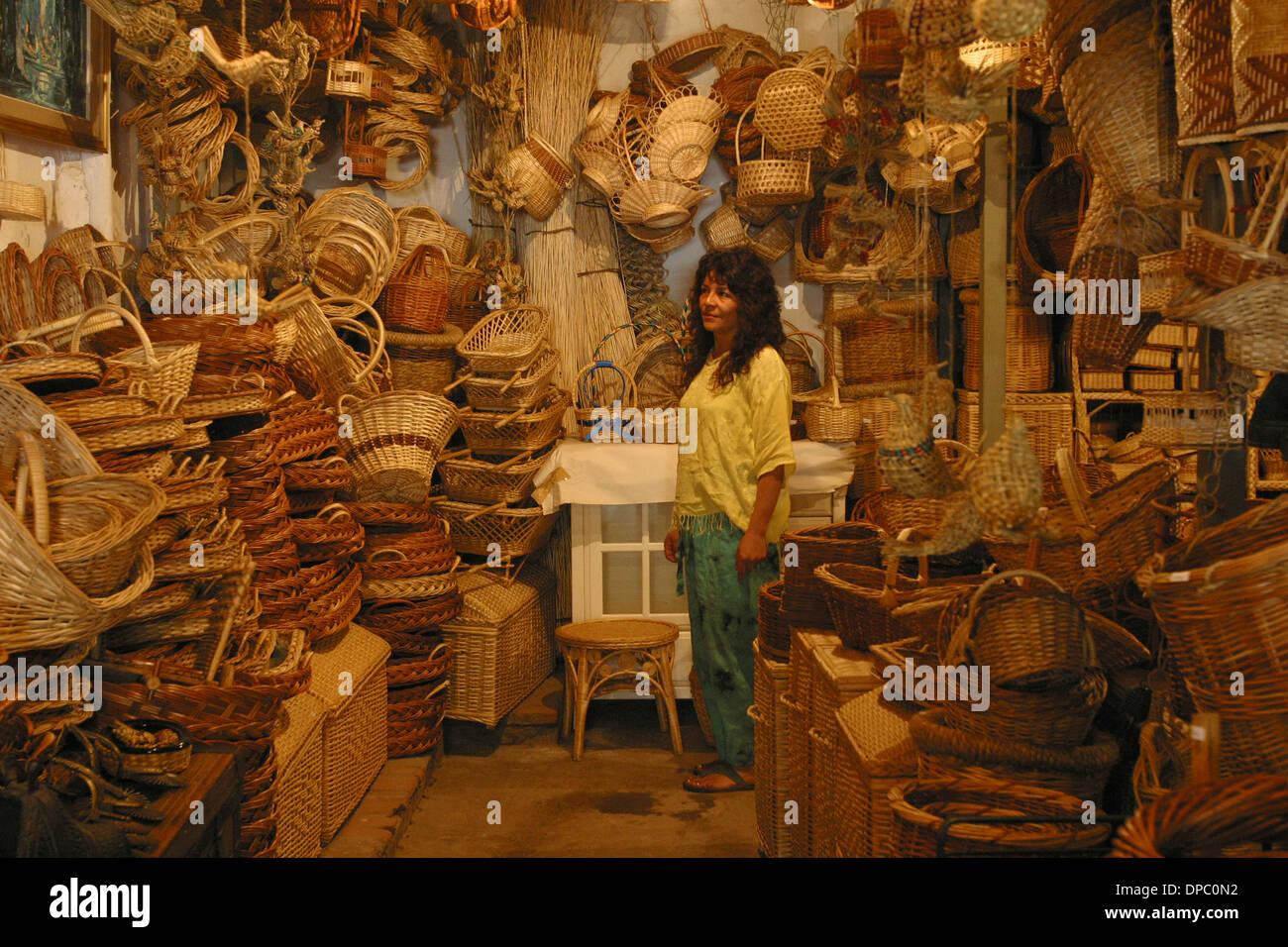 Hand woven baskets at the Pueblo de Artesans Los Dominicos, in the ...