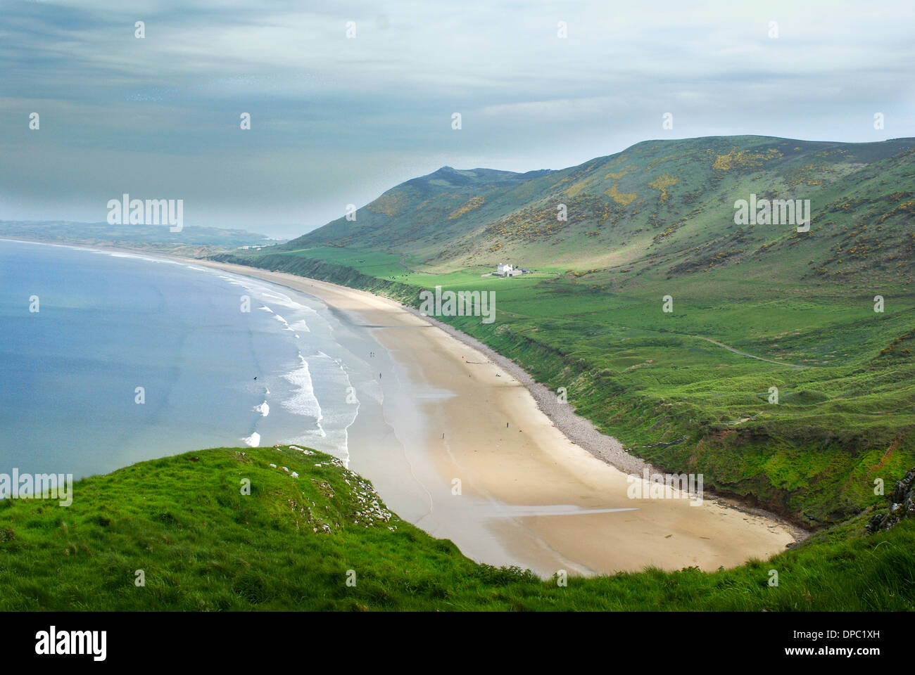 West Wales Coastline.  Beach in Wales. Rhossili Bay - Stock Image