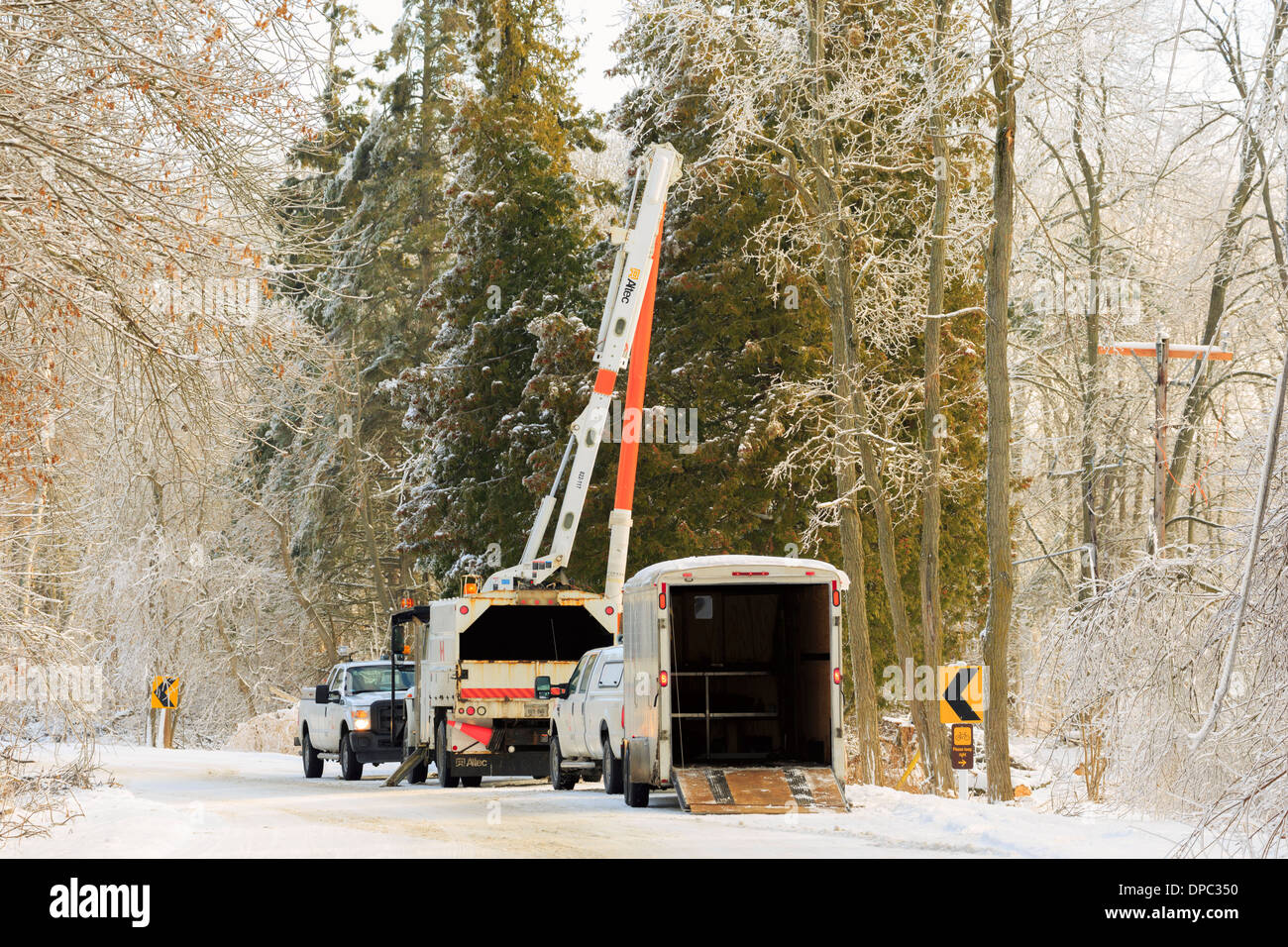 Restoring power in the aftermath of a winter storm in Southern Ontario - Stock Image