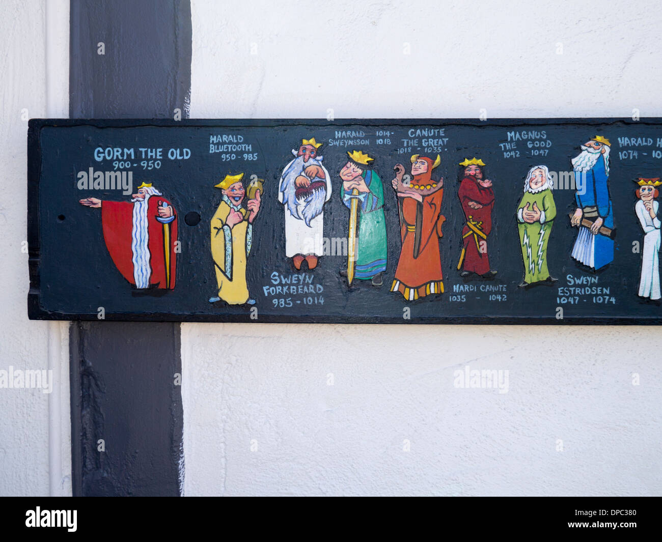 Board of Danish rulers in Solvang in the Santa Ynez Valley, California. A Danish style town - Stock Image