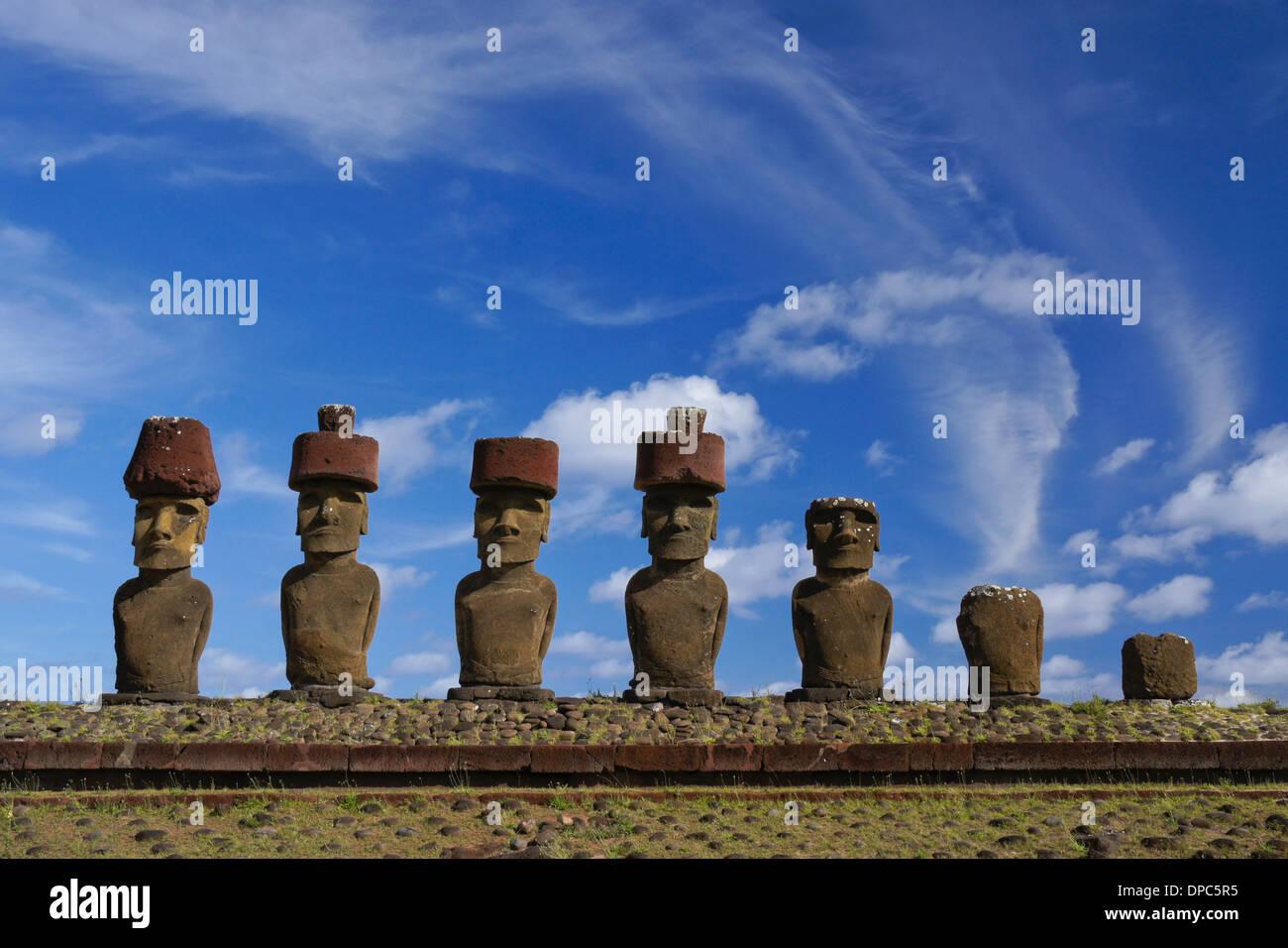 Ahu Nau Nau moai at Anakena Beach, Easter Island, Chile - Stock Image