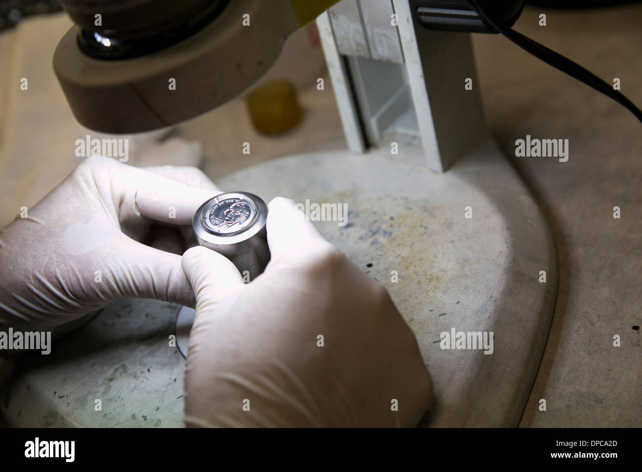 Coin die manufacturing at the Philadelphia branch of the United States Mint. - Stock Image