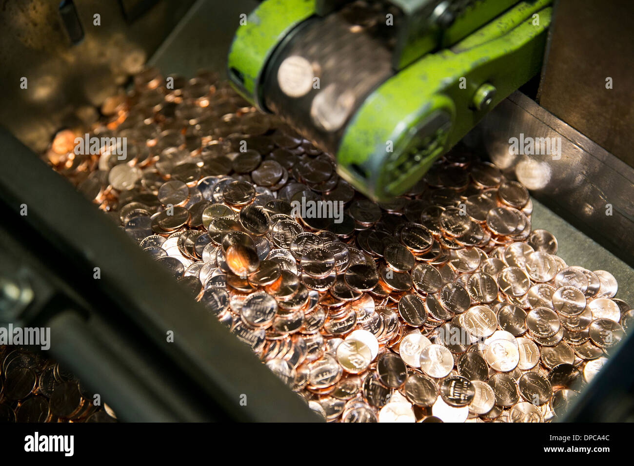 Penny manufacturing at the Philadelphia branch of the United States Mint.  Stock Photo