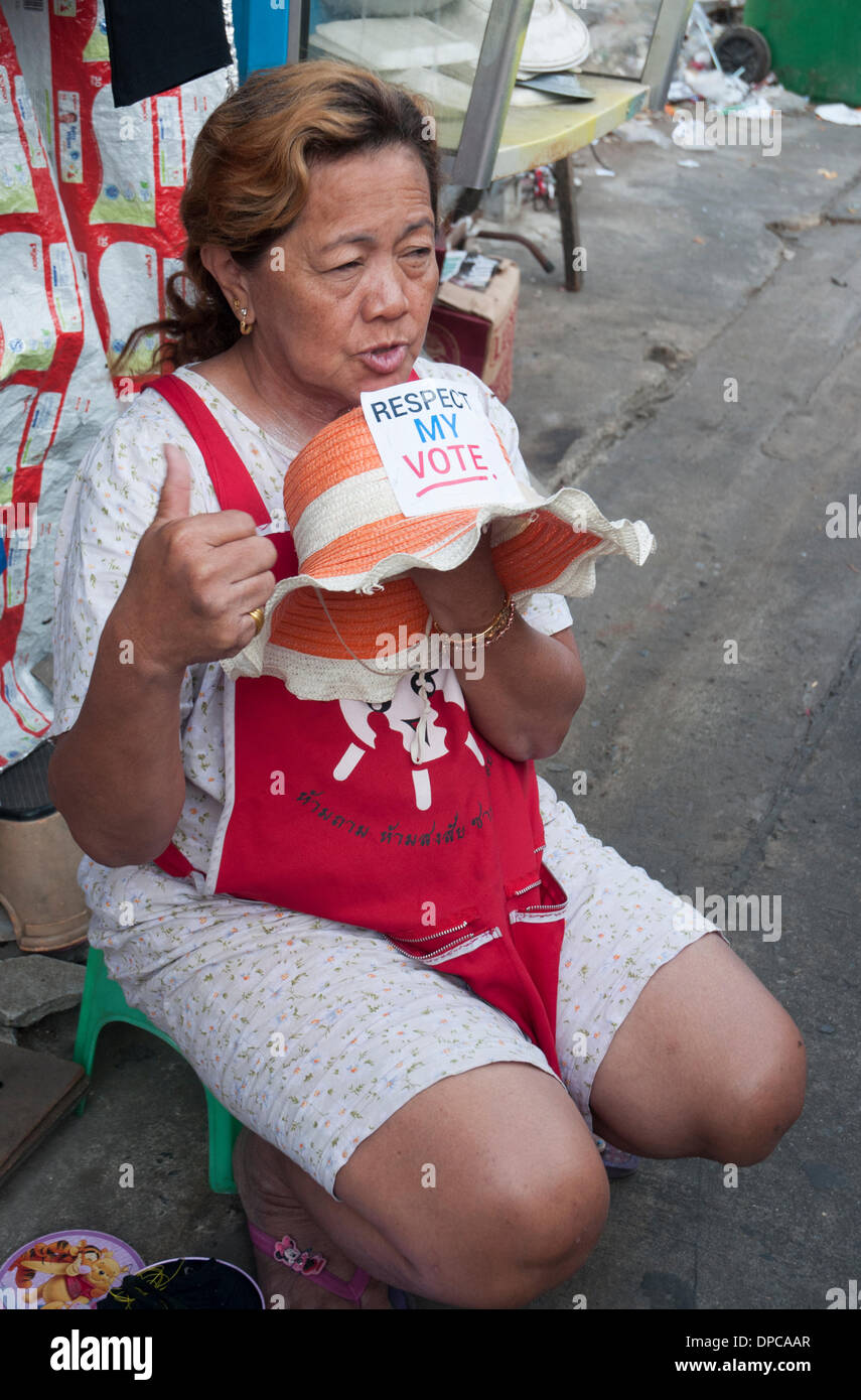 A Bangkok supporter of the Yingluck Shinawatra government attaches an English-language slogan to her sunhat Stock Photo