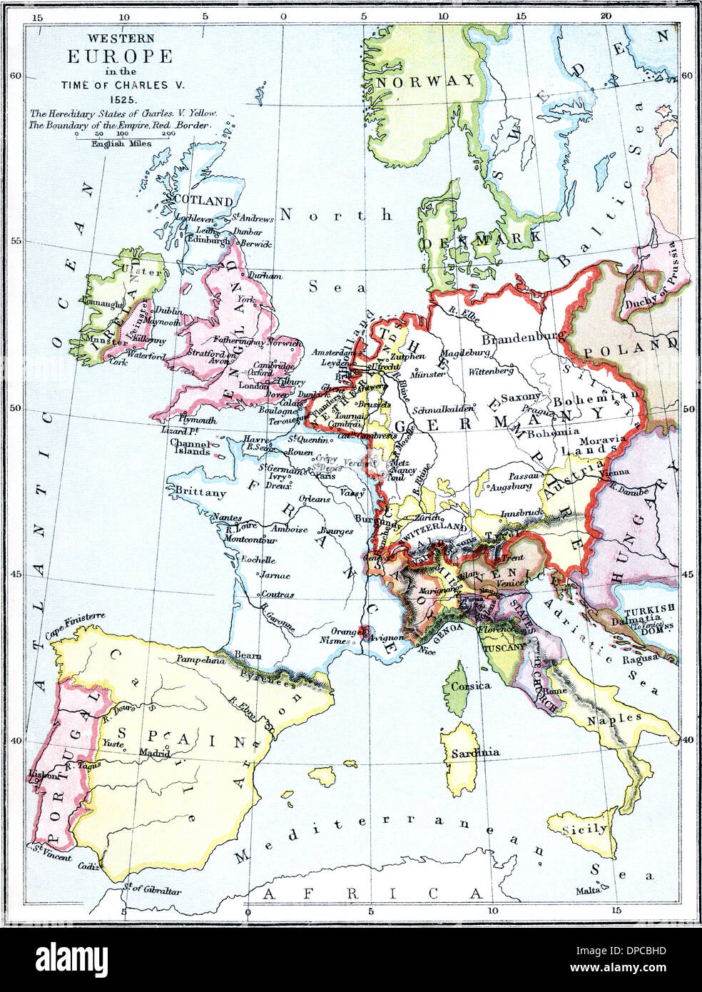 Map Of Europe In The Time Of Charles V 1525 Published 1900 Stock