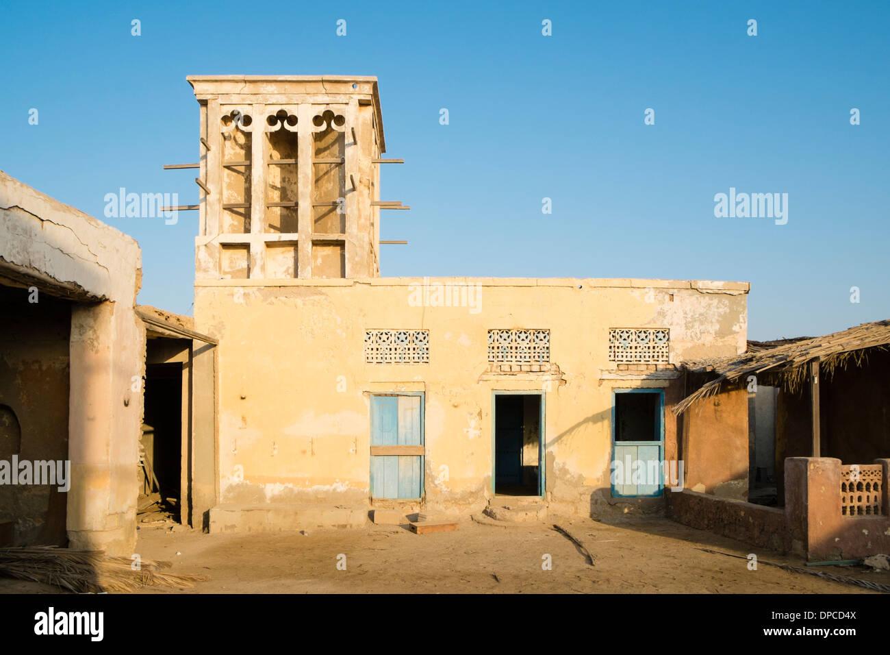 Deserted former fishing village at Jazirat Al Hamra in Ras Al Khaimah emirate in United Arab Emirates UAE - Stock Image