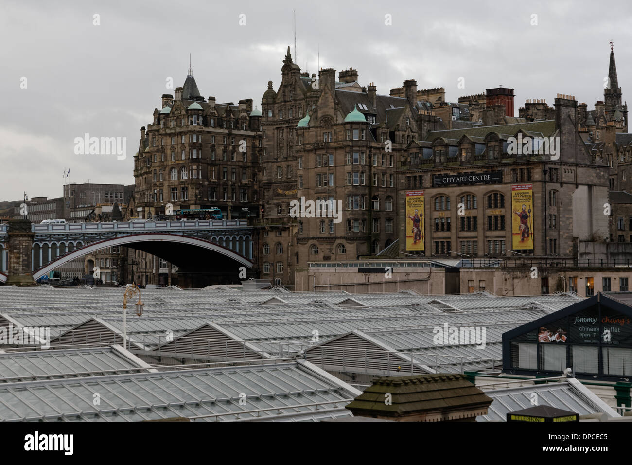 Edinburgh view over glass roof of Waverley Station to ...