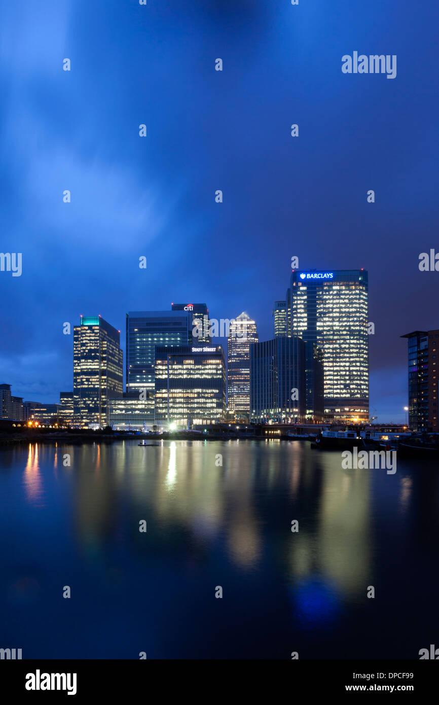 Skyline Of Canary Wharf Across The Blackwall Basin Dockland London England United
