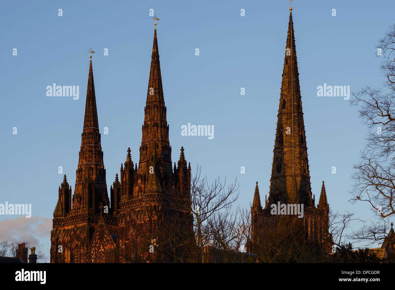 The three spires of Lichfield Cathedral - Stock Image