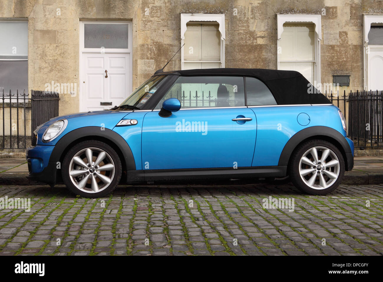 BMW Mini One Convertible soft top photographed in The Royal Crescent Bath England UK - Stock Image