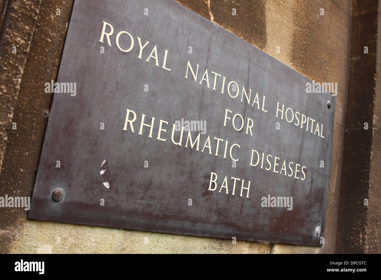 Bath England the Royal National Hospital for Rheumatic Diseases entrance sign - Stock Image