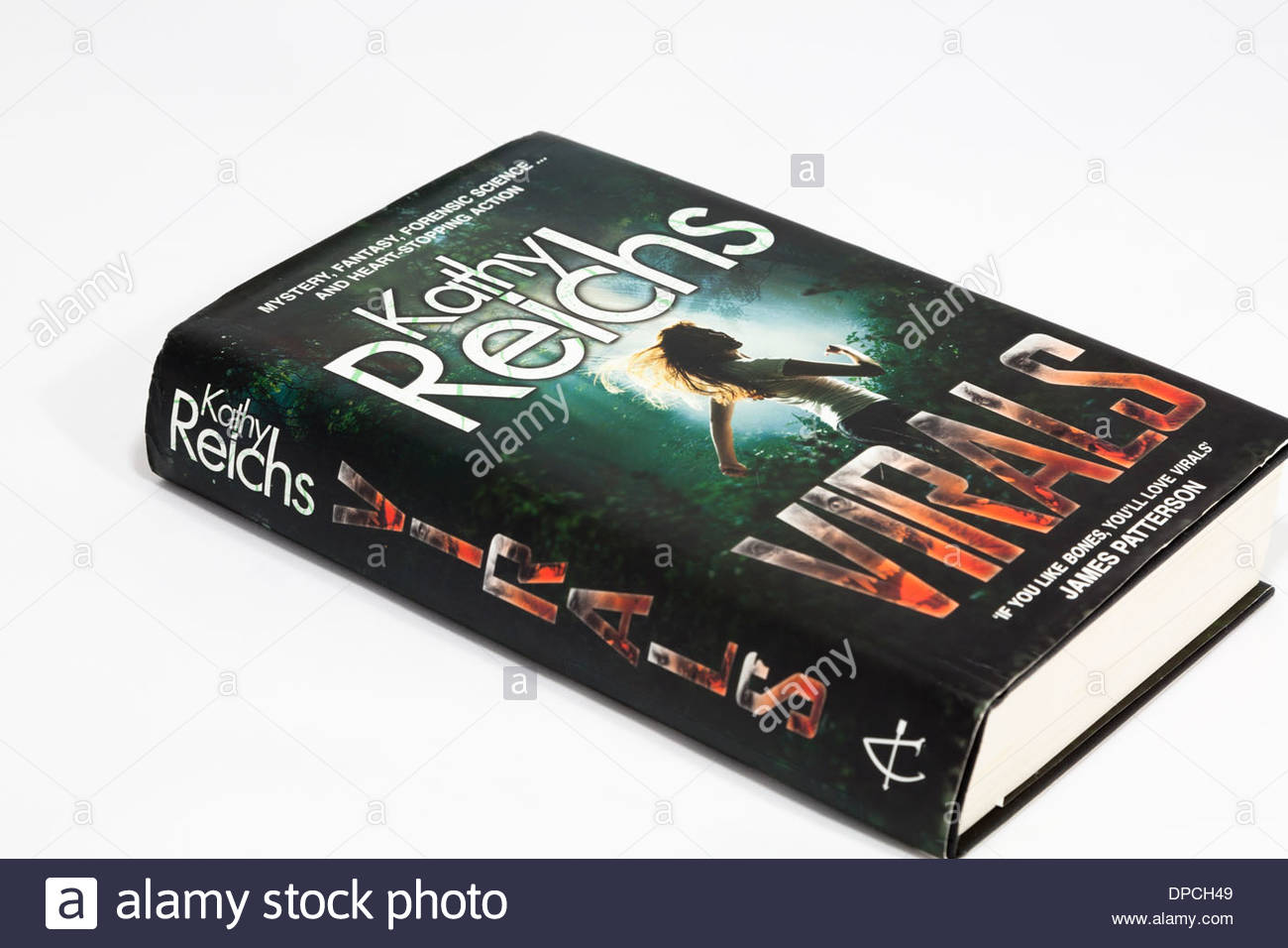 The book Virals by bestselling author Kathy Reichs on white background - Stock Image