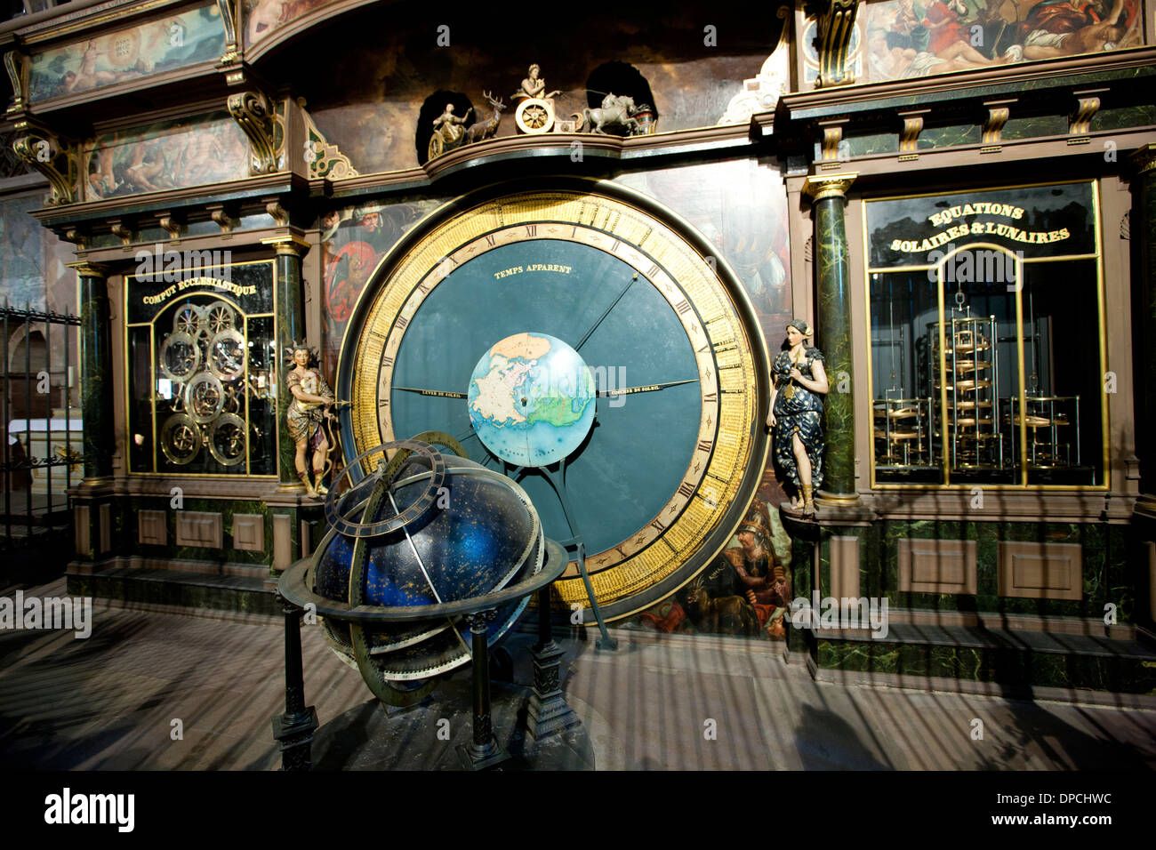 Astronomical Clock in South Transept of  Cathedral of Notre Dame, Our Lady of Strasbourg, in Strasburg, Alsace, Stock Photo