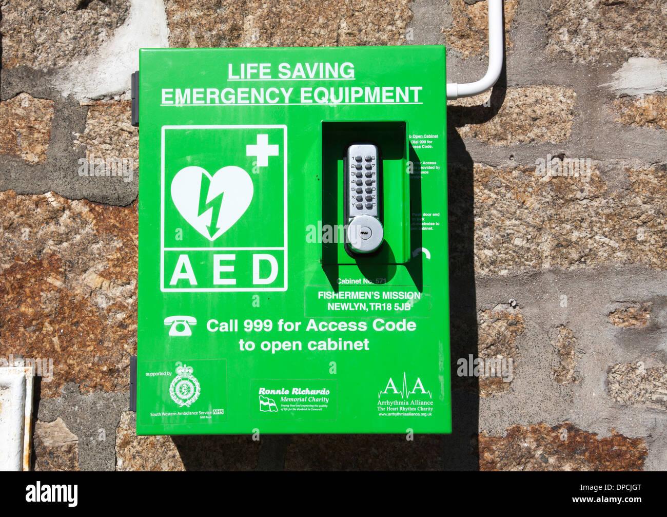 Life saving equipment on a street in the U.K. - Stock Image