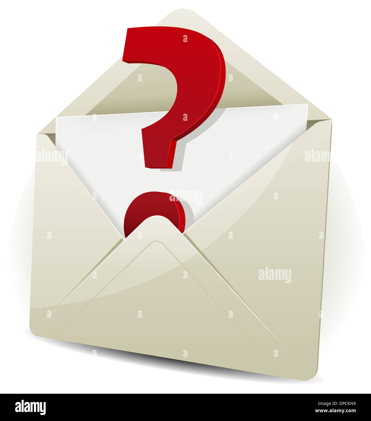 Illustration Of An Email Icon Envelope With Question Mark Symbol