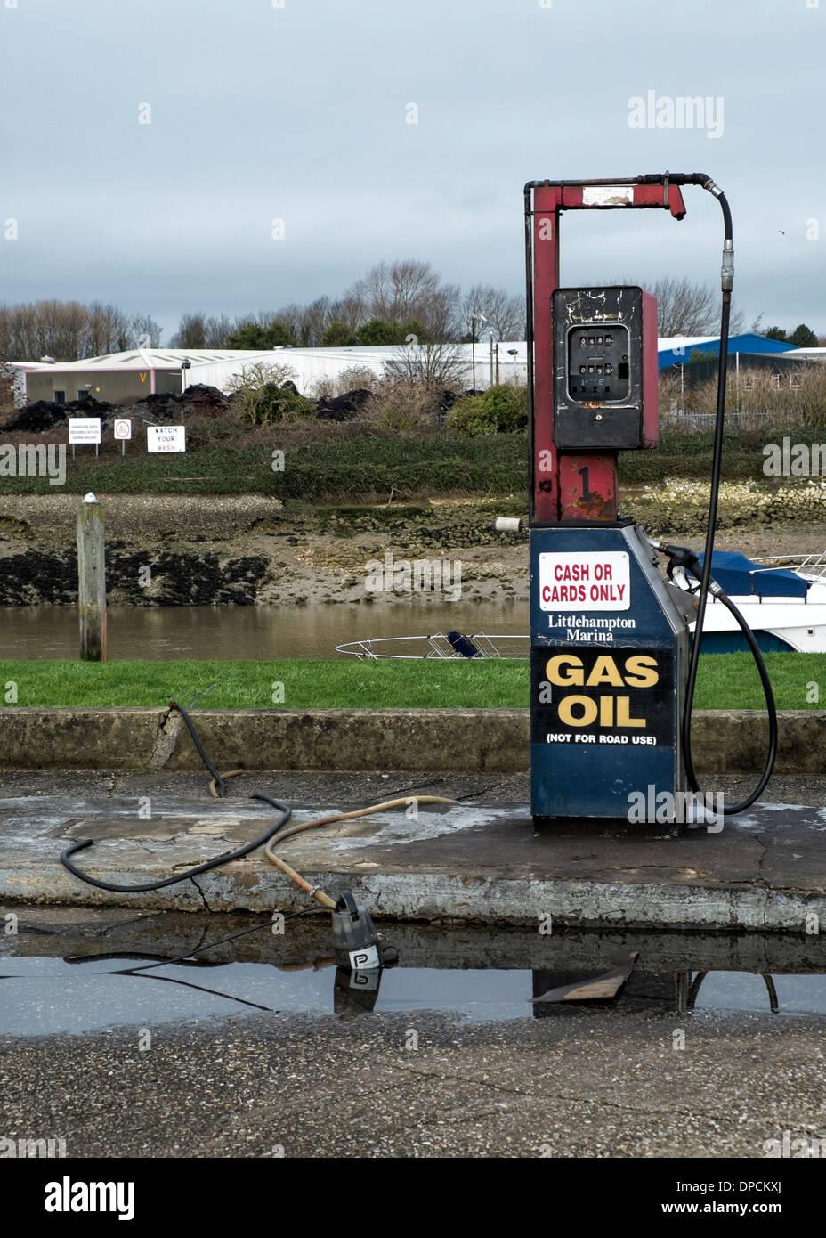Fuel pumps at Littlehampton Marina, West Sussex, . Picture by Julie Edwards - Stock Image