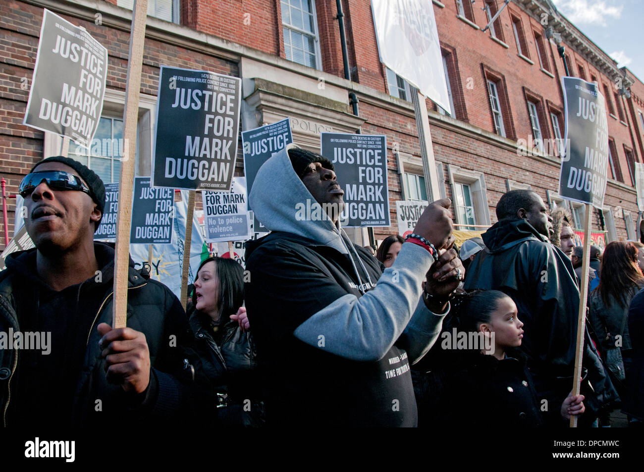 Family Family friends Vigil Mark Duggan killed in 2011 police officer following inquest judgement of lawful killing 11.1.14 - Stock Image