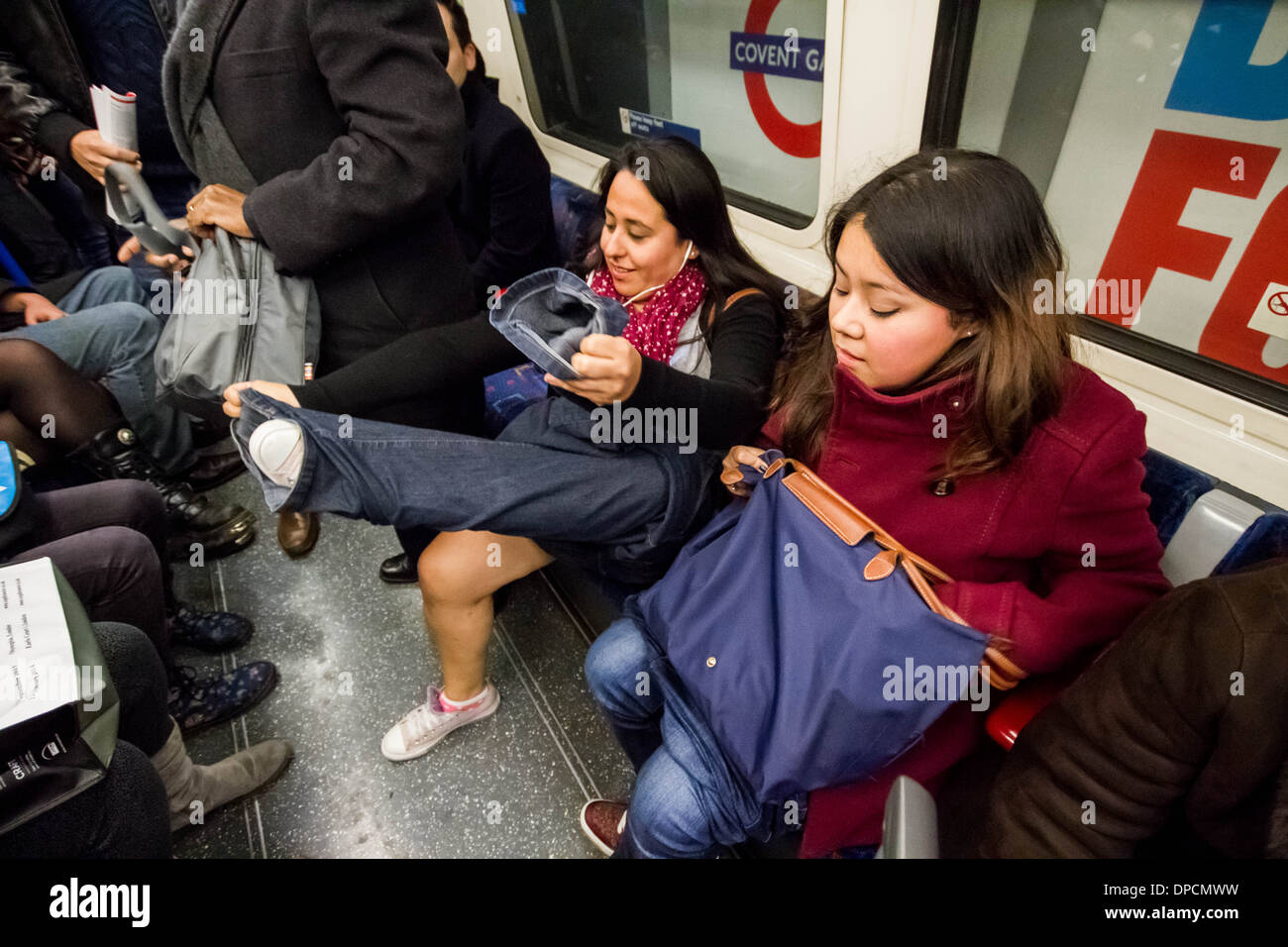 No Trousers Tube Ride (No Pants Subway Ride) 2014 in London - Stock Image