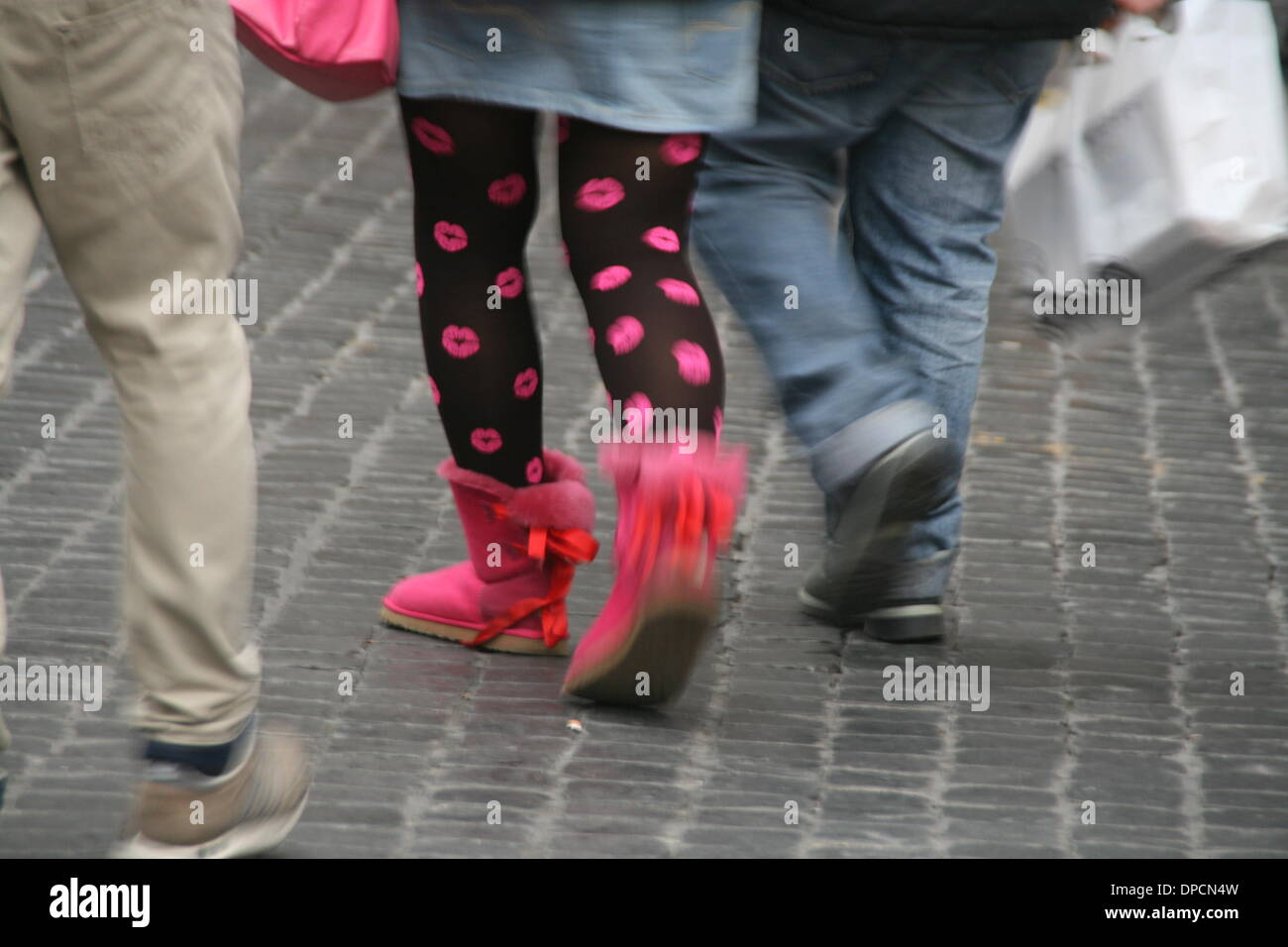 10th Jan 2014 January sales in the historic centre of Rome  Italy - Stock Image