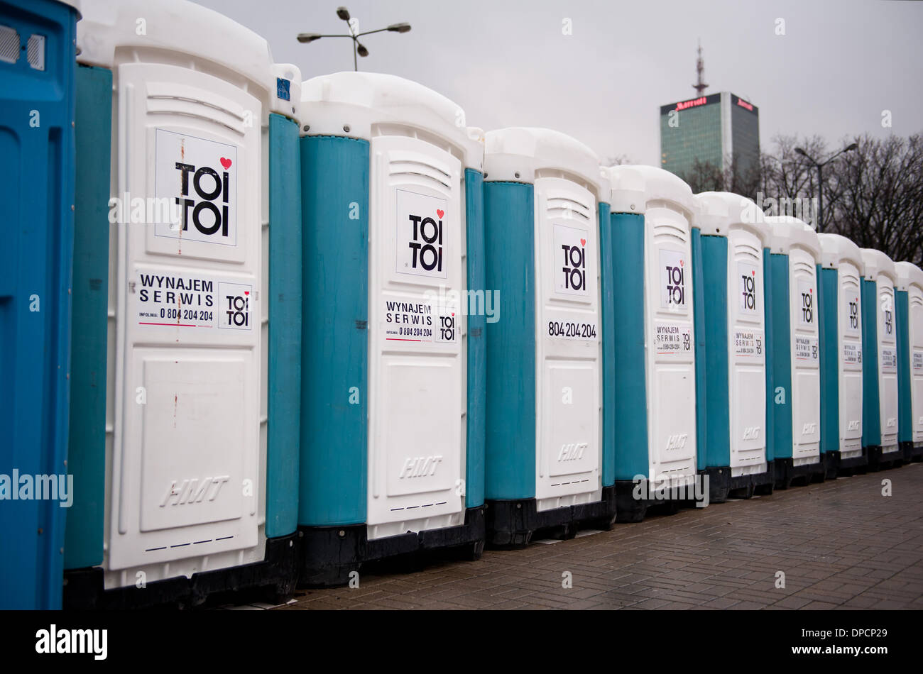 Public Toi Toi Toilet Cabs At Event   Stock Image