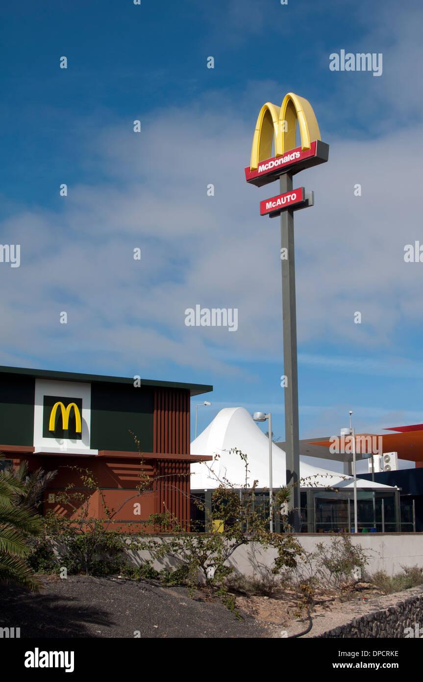 McDonald`s restaurant, Caleta de Fuste, Fuerteventura, Canary Islands, Spain. - Stock Image