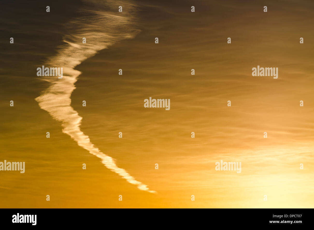 Unique cloud formation in the sky at sunset. - Stock Image