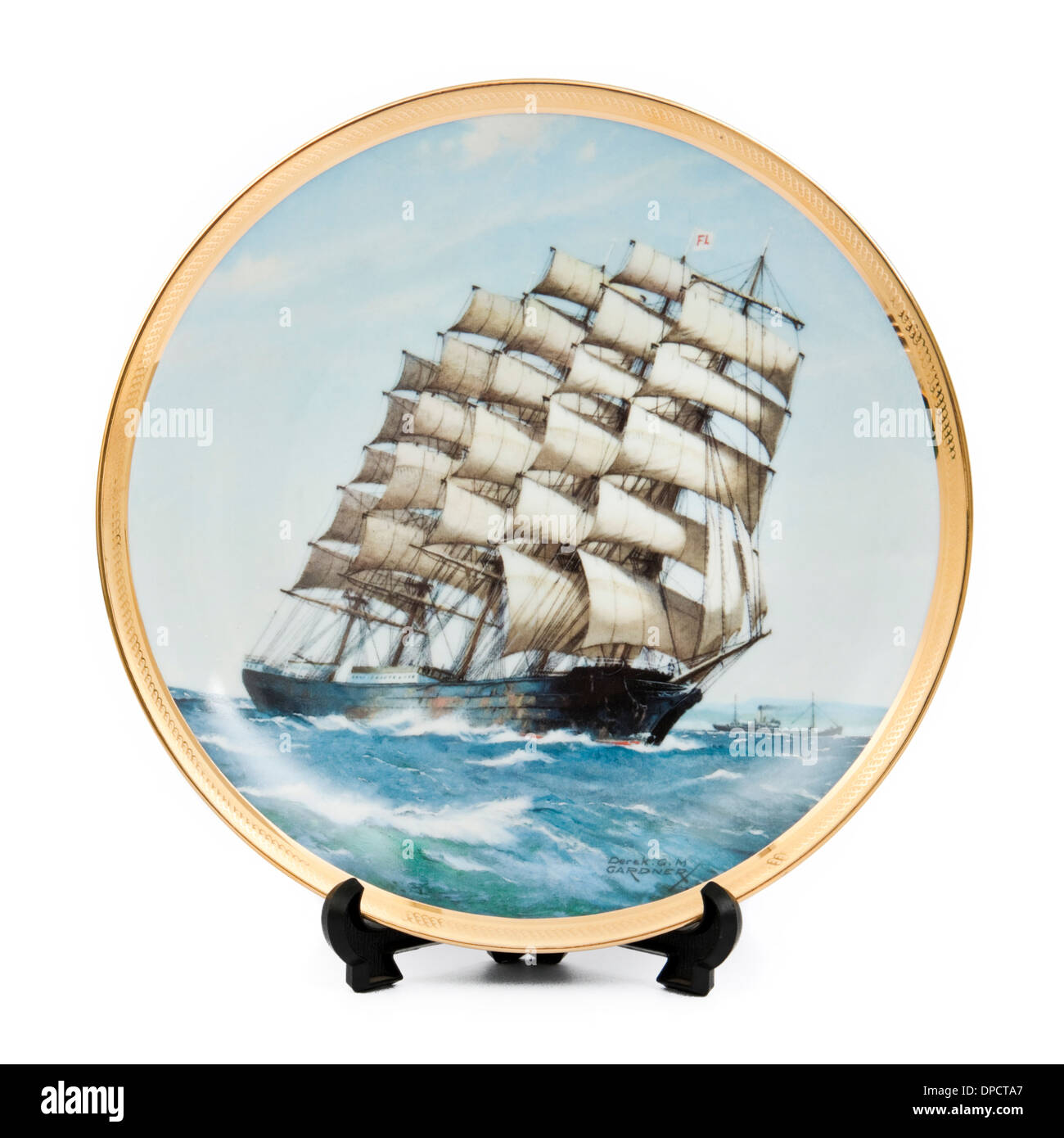 The Preussen, the largest five-masted sailing ship ever built. Porcelain plate by Franklin Mint (1986) - Stock Image
