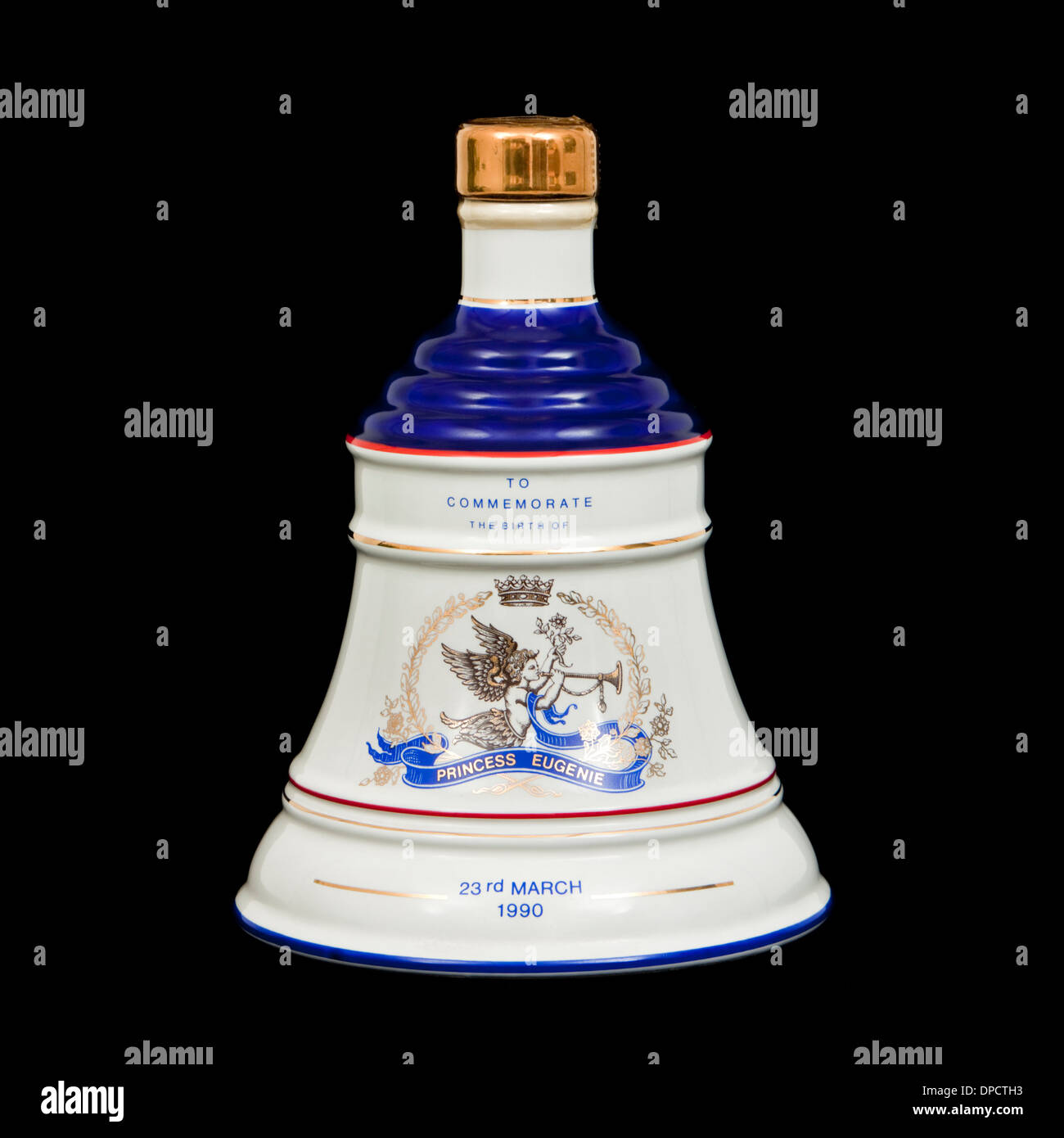 Bell's Old Scotch Whisky - porcelain Royal Decanter made by Wade, commemorating the Birth of Princess Eugenie (23rd March 1990) - Stock Image