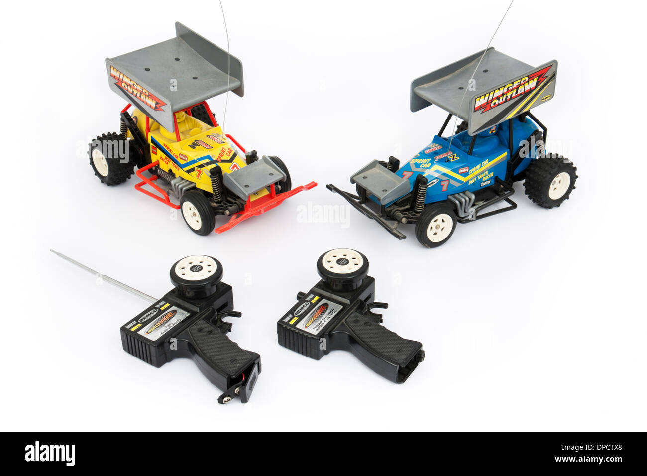 Pair of vintage 1980's Winged Outlaw radio-controlled sprint cars by Remco (Azrak-Hamway International Inc) - Stock Image