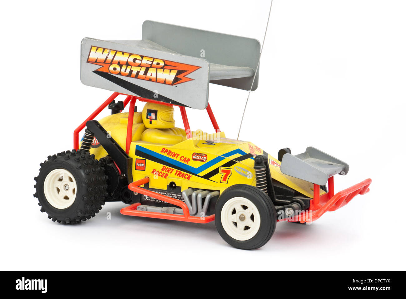Vintage 1980's Winged Outlaw radio-controlled sprint car by Remco (Azrak-Hamway International Inc) - Stock Image