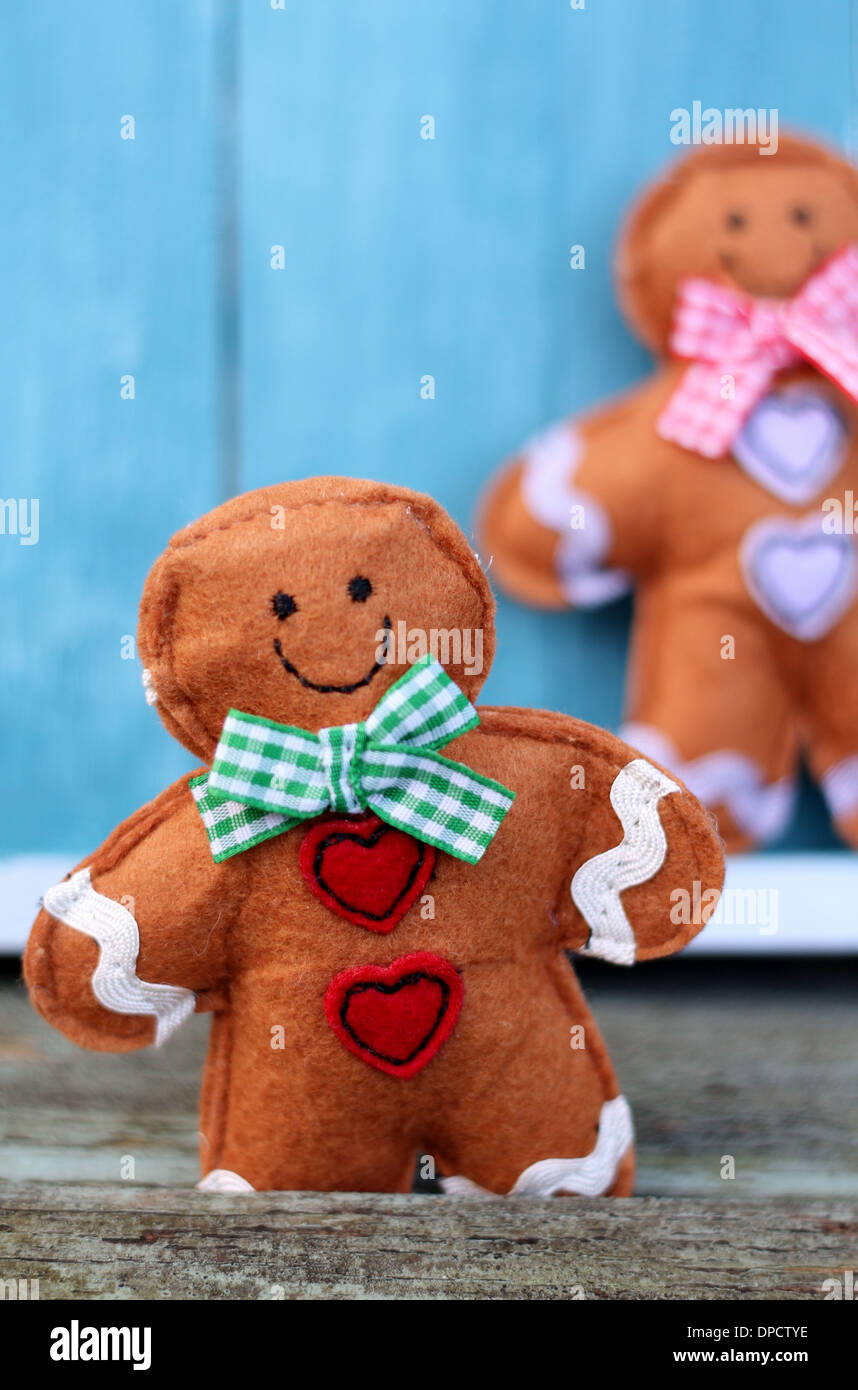 Cute Felt Toy Shabby Chic Gingerbread Man On Painted Blue Wooden